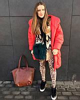 Рыжая матовая сумка-шоппер из экокожи