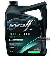Синтетическое масло WOLF OFFICIALTECH 5W30 C3 ✔ емкость 4л.