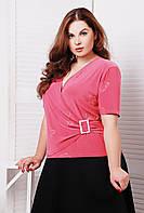 Блуза однотонная со стразами ЛЮБАВА розовая