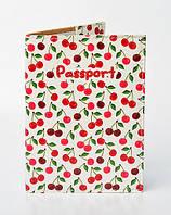 """Обложка на паспорт из эко-кожи """"Вишенки"""""""