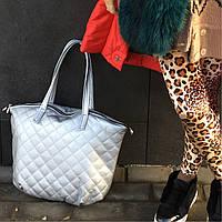 Серебряная стеганая сумка-шоппер из экокожи