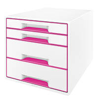 Шкафчик Leitz WOW, 4 ящика. Розовый/белые инд.52131023
