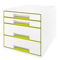 Шкафчик Leitz WOW 4 ящика бело-зеленый 52131064