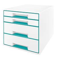 Шкафчик Leitz WOW 4 ящика бело-бирюзовый металлик 52131051