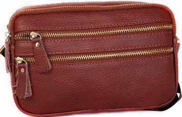 Вместительная кожаная мужская сумка 30118, рыжая