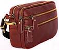 Вместительная кожаная мужская сумка 30118, рыжая, фото 2