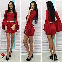 Шикарное красное  платье с золотым пояском, расклешенные рукава. Арт-9726/77