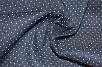 Ткань Джинс тёмно-синий горох 2 мм