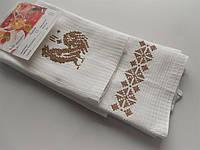 Набор кухонных полотенец с вышивкой крестом в коричневом цвете