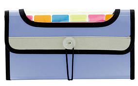 Папка на резинке 7 цветн.карманов  L6143 (263х140мм) синяя490959