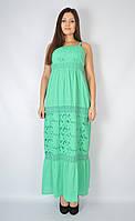 Сарафан длинный с прошвой, зеленый, 46-48 размеры