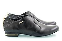 Кожаные женские туфли чёрного цвета на минимальном каблуке, фото 1