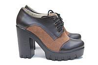 Кожаные туфли на каблуке с коричневыми вставками , фото 1