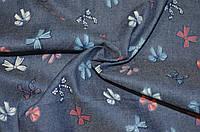 Ткань Джинс тёмно-синий бабочки 25 мм