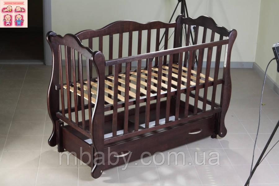 Детская кроватка Юлия (цвет венге), шарнир-подшипник-ящик, опускная боковина, фиксатор боковинки