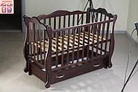 Детская кроватка Юлия (цвет венге), шарнир-подшипник-ящик, опускная боковина, фиксатор боковинки, фото 1