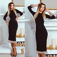Черное трикотажное платье в обтяжку, с мехом енота. Арт-9728/30