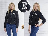 Черная женская курточка с принтом на спине, весна-осень. Арт-9729/30