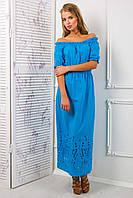 Платье-сарафан из цветного шитья АЛЕСЯ голубое