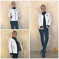 Белая  женская курточка с принтом на спине, весна-осень. Арт-9729/30