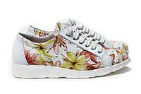 Белые женские туфли с цветочным принтом , фото 1