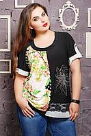 Блуза с цветком из стразов цвет принта салатовый МАРИСА
