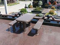 Стол и скамейки из гранита СЛВ - 05