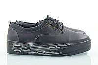 Кожаные слипоны черного цвета на высокой подошве, фото 1