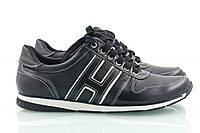 Женские кроссовки из черной и белой кожи с белой строчкой, фото 1