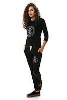 Костюм двунить черный стильный молодежный с зауженными штанами