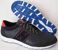 NB мужские кроссовки в стиле New Balance туфли большие размеры кожа синие кожа натуральная комфорт качество