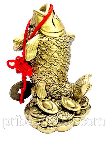 Карп с монетой, под бронзу