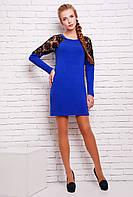 Платье из ангоры с кружевом ВЕГА синее