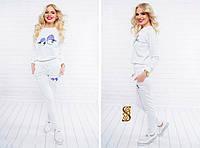 Модный белый батальный спортивный  костюм с принтом. Арт-9732/30
