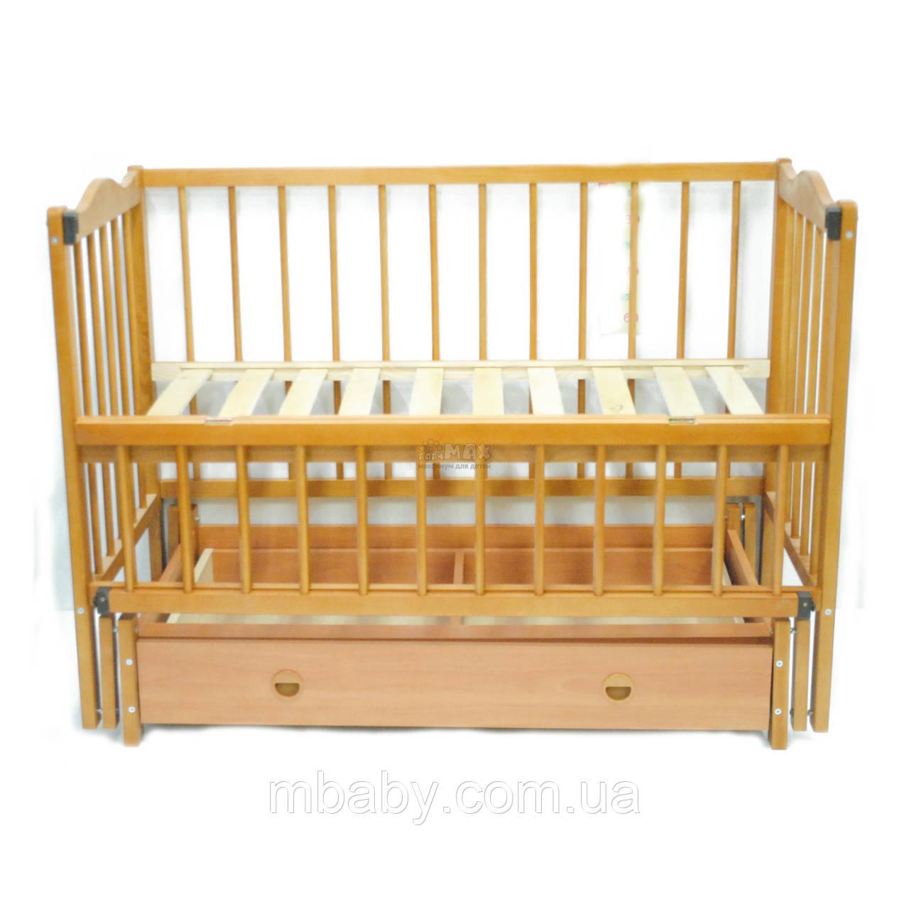 Детская кроватка Ангелина (цвет натуральный), шарнир-подшипник-ящик, одкидная боковина