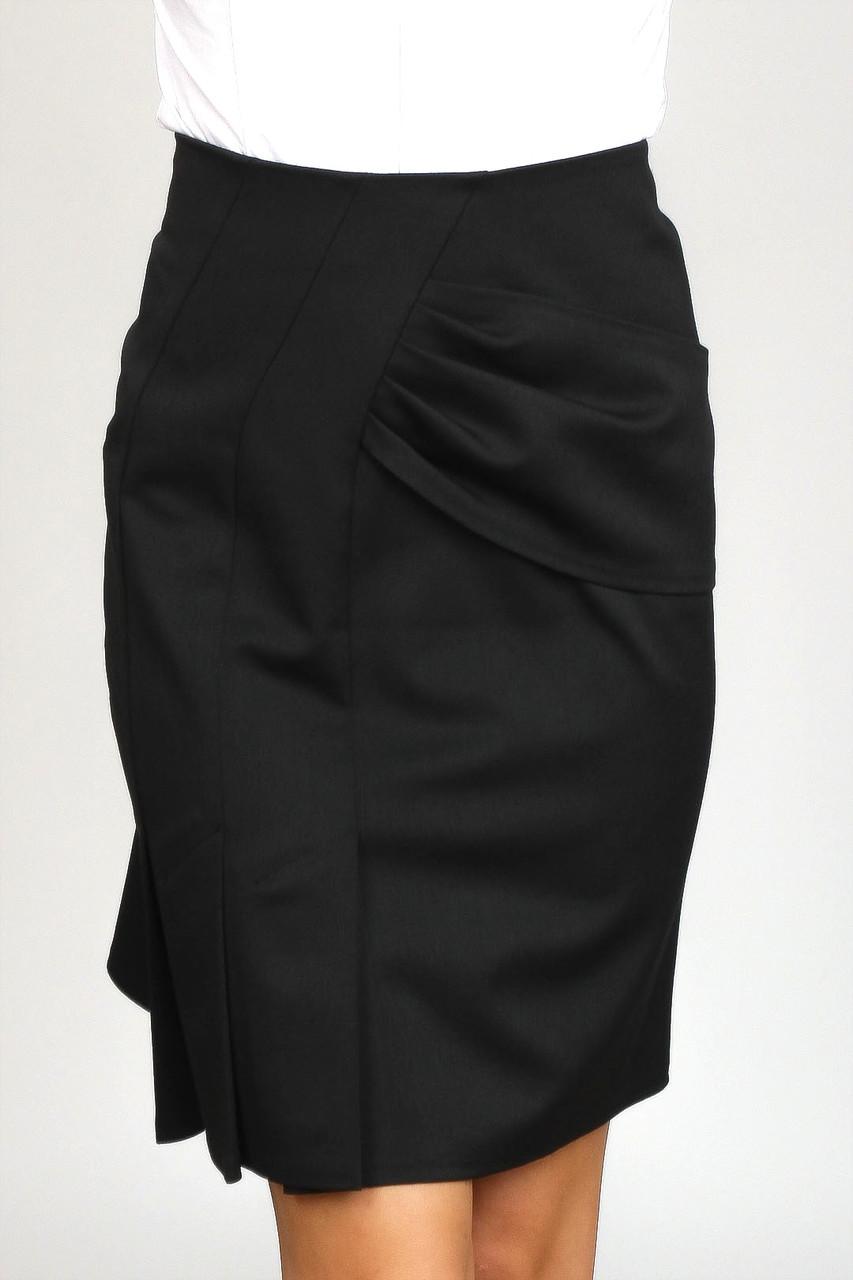 Черная юбка со складками Ю69