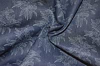 Ткань Джинс синий принт цветы