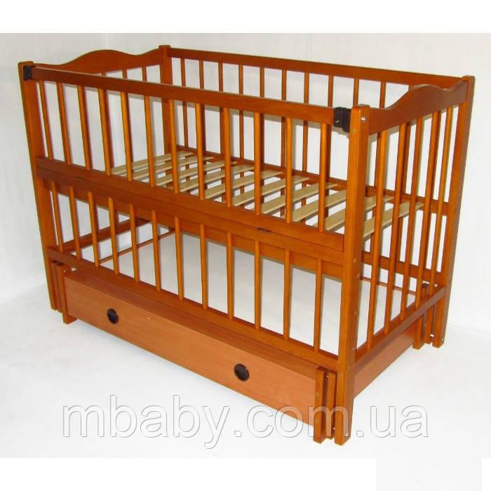 Детская кроватка Ангелина (цвет орех), шарнир-подшипник-ящик, одкидная боковина