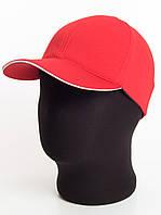 Красная бейсболка без логотипа с белым кантом, лакоста