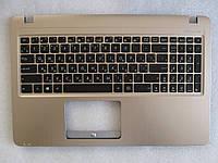 Клавиатура для ноутбуков Asus X540, X540L, X540LA, X540SA в сборе: черная в крышке цвета золотой металик