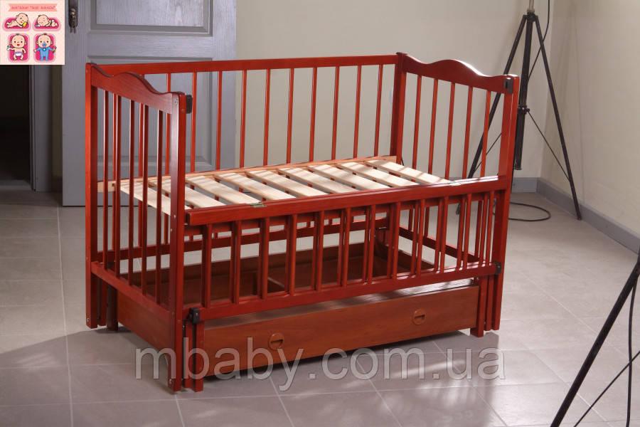 Детская кроватка Ангелина (цвет кальвадос), шарнир-подшипник-ящик, одкидная боковина