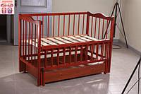 Детская кроватка Ангелина (цвет кальвадос), шарнир-подшипник-ящик, одкидная боковина, фото 1