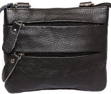 Шкіряна чоловіча сумка 300151, чорна
