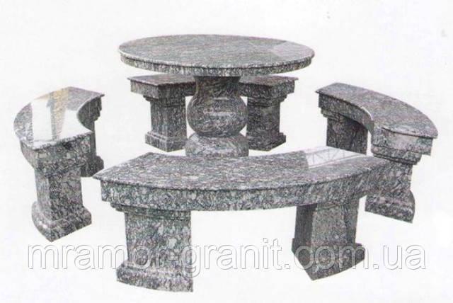 Стол и скамейки из гранита СЛВ - 48