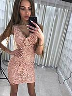 """Женское платье""""Эффект"""",ткань набивное кружево подкладка -масло."""