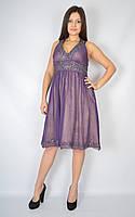 Женское платье с открытой спиной (фиолетовое)