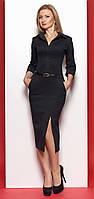 Женское платье черного цвета с длинным рукавом в классическом стиле. Модель 973 SL.
