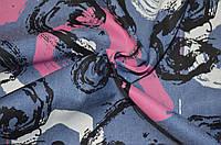Ткань Джинс синий абстракция