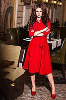 Женское платье нарядное с рубашечным лифом расклешенной юбкой с поясом креп 391 КВ