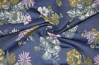 Ткань Джинс тёмно-синий цветы